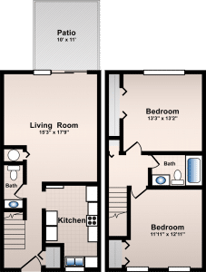 2 Bed / 1½ Bath / 954 sq ft / Rent: $675